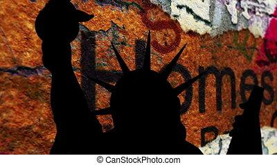 liberté, contre, maison, fond, crise, statue