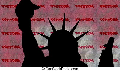 liberté, contre, statue, liberté, fond