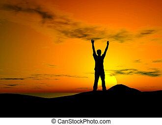 liberté, coucher soleil