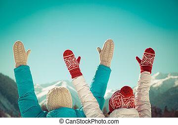 liberté, couple, hiver