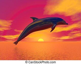 liberté, dauphin, -, render, 3d