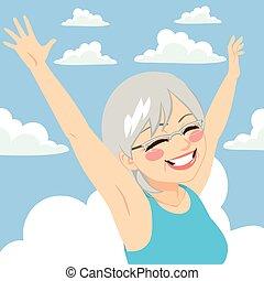 liberté, femme aînée, ciel