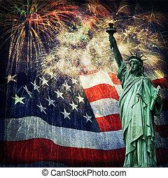 liberté, feux artifice, statue, &
