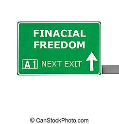 liberté, finacial, isolé, signe, blanc, route