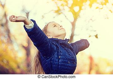 liberté, girl, parc, jeune