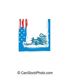 liberté, grunge, statue, américain, fond, drapeau