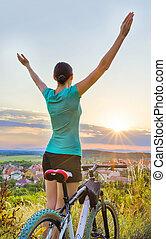 liberté, moutain, vélo, -, femme