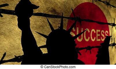 liberté, reussite, statue, contre, cassé