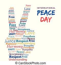 liberté, signe paix, conception, mondiale, main, jour