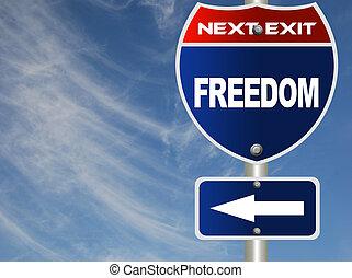 liberté, signe, route