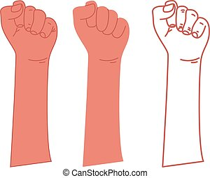 liberté, vecteur, lutte, poing, révolution, struggle., élevé...