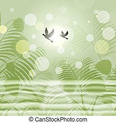 libertad, ambiente, indica, bokeh, verde, palomas