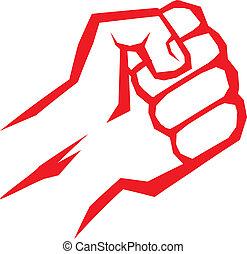 libertad, concept., vector, puño, icon., rojo