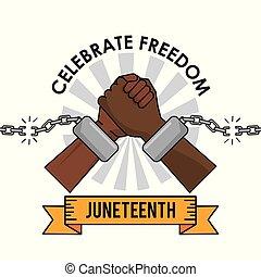 libertad, día, manos, cadena, juneteenth, roto, celebrar
