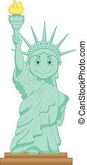 libertad, estatua, caricatura