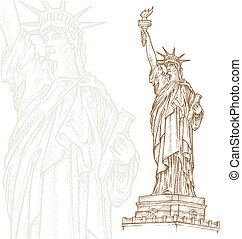 libertad, estatua, mano, empate