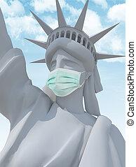 libertad, máscara, escultura, cirujano