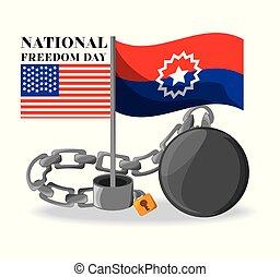 libertad, nacional, banderas, cadena, celebrar