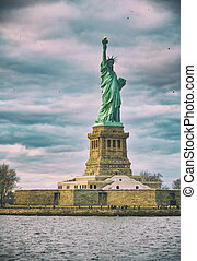 libertad, york, nuevo, estatua, ciudad