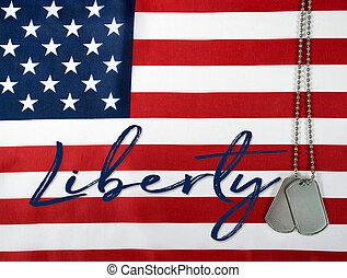 liberty and dog tags on flag