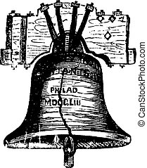 Liberty Bell, in Philadelphia, Pennsylvania, USA, vintage engraving