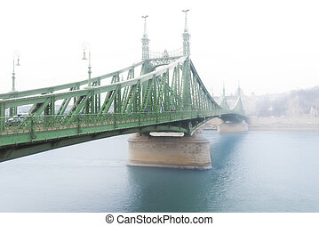 Liberty bridge in Budapest, Hungary.