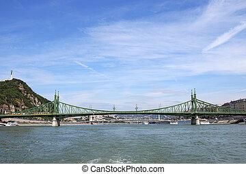 Liberty bridge on Danube river Budapest Hungary
