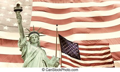 Vintage photo of Lady Liberty with American flags in the background. Sliding text Libertyin the same color as Lady Liberty is edited by noise effect.