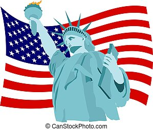 Liberty Flag - Statue of liberty and American flag...