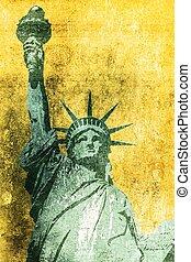 Liberty Grunge Background - Statue of Liberty Grunge...