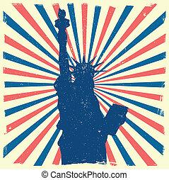 Liberty on grungy burst background