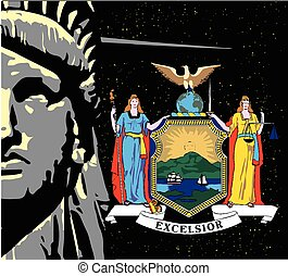 Liberty Over a night sky and NY Icon - The face of the...