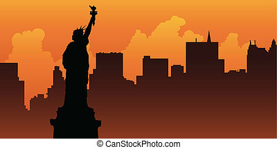 Liberty Silhouette - Silhouette of the Statue of Liberty...