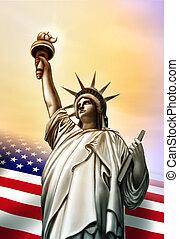 Liberty statue and Usa flag. Original digital illustration.