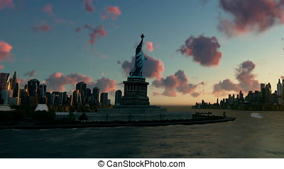 Liberty Statue at Ellis Island with New York skyline and...