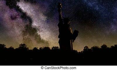 Liberty statue at sunrise