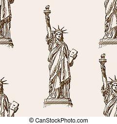 Liberty Statue hand drawn sketch seamless vector