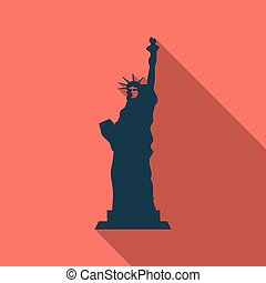 Liberty Statue Icon Illustration in flat style with shadow