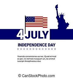 Liberty Statue Over United States Flag Independence Day Holiday 4 July Banner