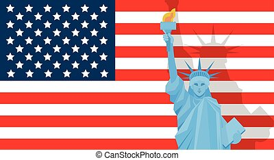 Liberty Statue Over United States Flag Independence Day Holiday Banner