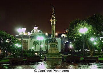 Liberty Statue, Plaza de la Independencia at night. Quito....