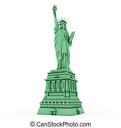 liberty statue isolated on white background