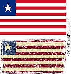 liberyjczyk, wektor, grunge, ilustracja, flag.