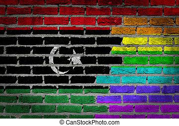 libië, rechten, muur, -, donker, lgbt, baksteen