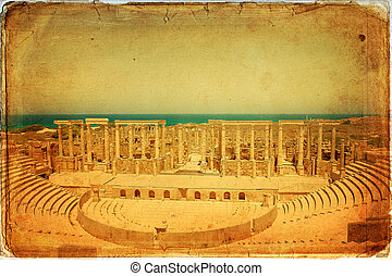 Libia - The Theater at the spectacular ruins of Leptis Magna...