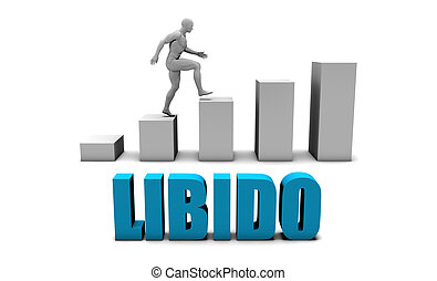 Libido 3D Concept  in Blue with Bar Chart Graph