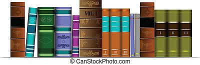 libr, estante libros, ilustración, vector