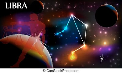 Libra Astrological Sign and copy space