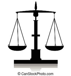 Libra-Balance - Illustration of silhouette scales on a white...