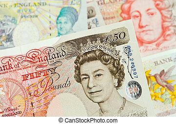 libra británica, notas., británico, pounds., billetes de...